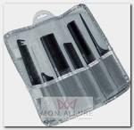 Набор расчесок в серебристом чехле, карбон, 6 предметов (черный)